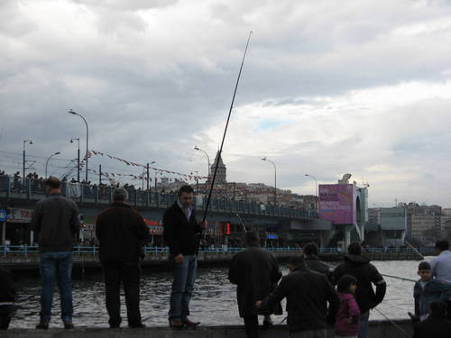 fishermen, Galati Tower backround