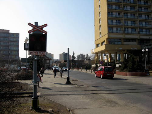 rail crossing on the Square