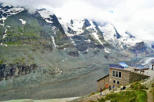 Grossglockner covered in clouds and cableway station